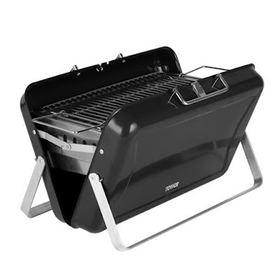 Tower Stealth Black Portable Briefcase Charcoal BBQ