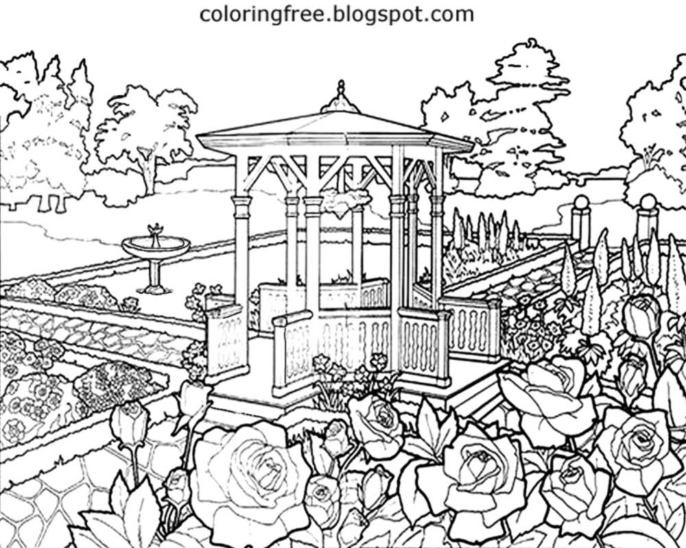 backyard gazebos printable drawing designs beautiful scenery summer garden coloring pages for adults - Garden Coloring Pages