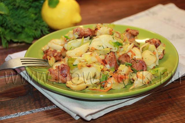 рецепт свинины, тушеной с капустой и макаронами