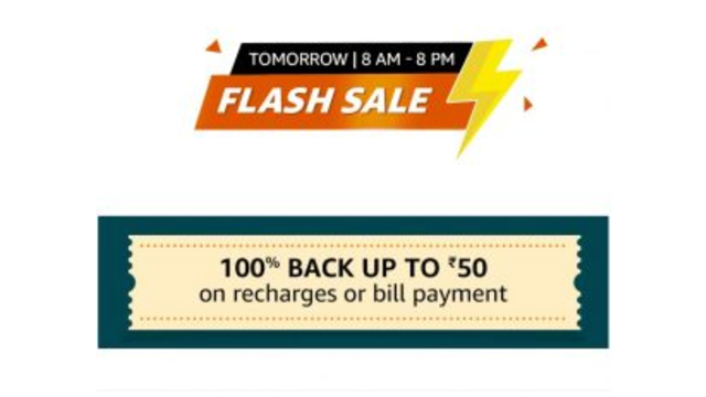 Amazon Flash Sale Recharge – 100% Cashback Upto ₹100