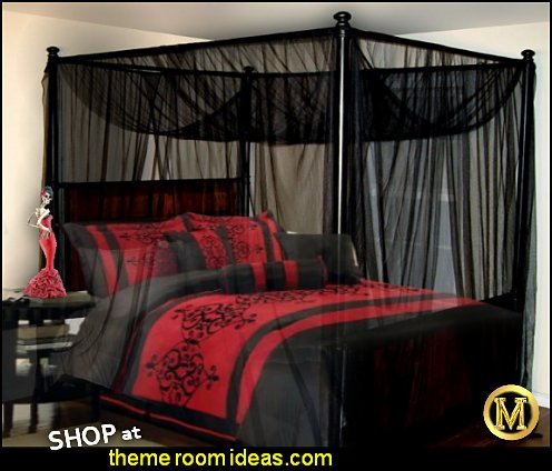 Red Black gothic bedroom Victorian black and red bed with sheer black canopy Gothic Bedroom Decorating Ideas gothic wall murals