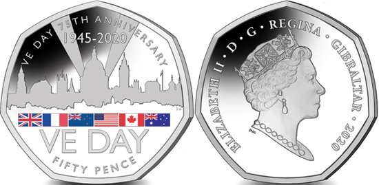 Gibraltar 50 pence 2020 - 75th Anniversary of VE DA