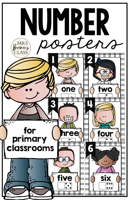 Number Posters featuring Melonheadz Kidlettes! Makes a sweet bulletin board display and a great visual reference for students who need support for numbers, number words, counting, and number order. #math #classroomsetup #classroom #classroomdecor #kindergarten #1stgrade