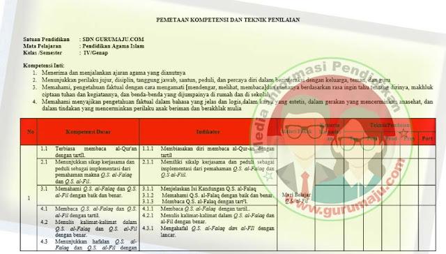 Pemetaan KD PAI Kelas 4 Kurikulum 2013 Revisi 2021 Semester 2