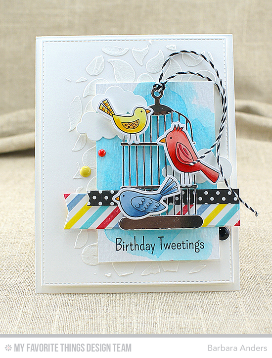 Birthday Tweetings Card by Barbara Anders featuring the Tweet Friends stamp set and Die-namics. the Plaid Background Builder stamp, the Cheerful Cages, Puffy Clouds, Blueprints 24, and Blueprints 27 Die-namics #mftstamps
