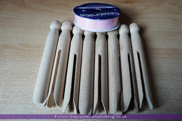 Decorate An Old Fashioned Wood Clothes Peg or Pin with Ribbon