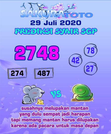 Prediksi Sakuratoto SGP Rabu 29 Juli 2020