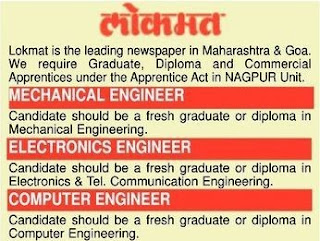 Lokmat  is the leading newspaper in Maharashtra & Goa Required Freshers Diploma Candidates