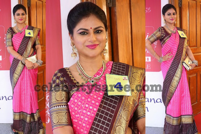 Shailaja Reddy Pink Benaras Silk Saree