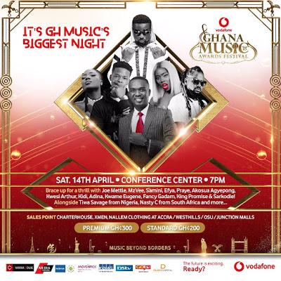 Joe Mettle, Sarkodie, Samini, Tiwa Savage And Others Set To Rock At 19th Vodafone Ghana Music Awards