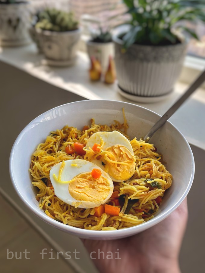 Vermicelli upma topped with halved boiled egg