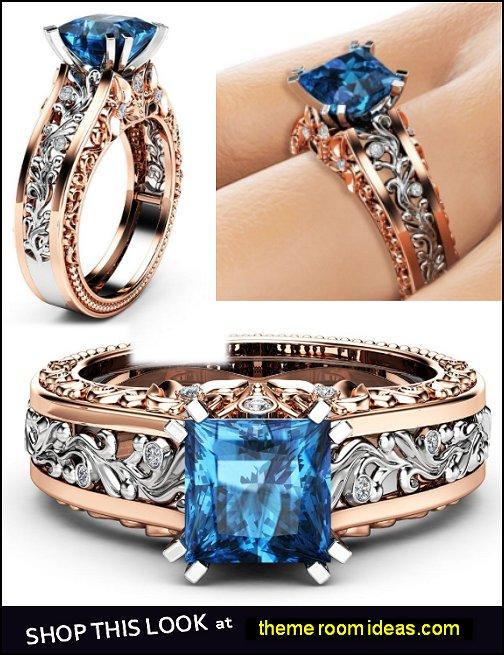 Princess Blue Diamond Engagement Ring  Diamond Ring Unique Two Tone Gold Engagement Ring