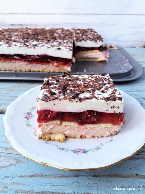 Ciasto Rubin bez pieczenia z wiśniami i kremem przepis