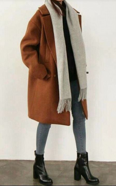 best winter outfit with a brown coat : scarf + jeans + black boots + sweater