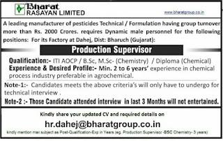 ITI/Diploma/B.Sc/M.Sc Candidates Jobs Requirement  in  Bharat Rasayan Ltd. Factory at Dahej, Dist: Bharuch (Gujarat)