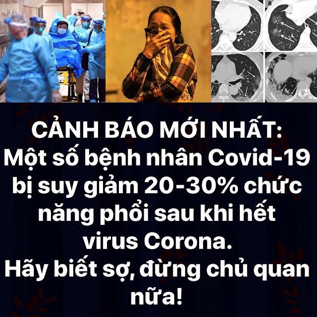 Một số bệnh nhân Covid-19 bị suy giảm 20-30% chức năng phổi sau khi hết Virus Corona