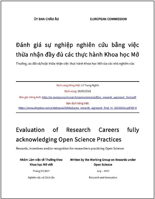 'Đánh giá sự nghiệp nghiên cứu bằng việc thừa nhận đầy đủ các thực hành Khoa học Mở – Thưởng, ưu đãi và/hoặc thừa nhận việc thực hành khoa học mở của các nhà nghiên cứu' - bản dịch sang tiếng Việt