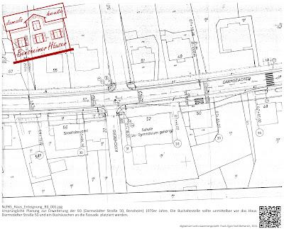 Bensheimer Häuser - Die Erweiterung der B3 - Darmstädter Straße 50 - Planung einer Bushaltestelle 1970