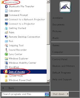 Klik Accesories, kemudian pilih dan klik Ease Of Access.