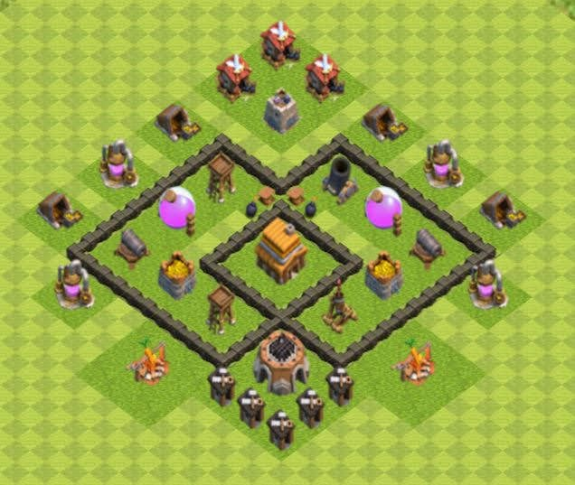 Base COC TH4 Trophy 3