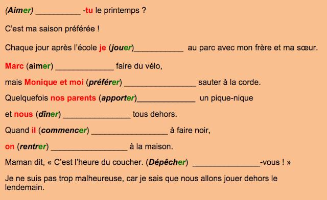 Czasowniki pierwszej grupy - ćwiczenie 1 - Francuski przy kawie