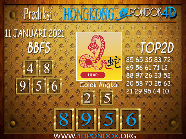 Prediksi Togel HONGKONG PONDOK4D 11 JANUARI 2021