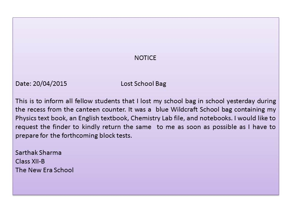 Lost And Found Notice Writing Image Gallery  Hcpr