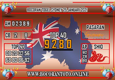 Bocoran Toto Sydney Senin 25 Januari 2021