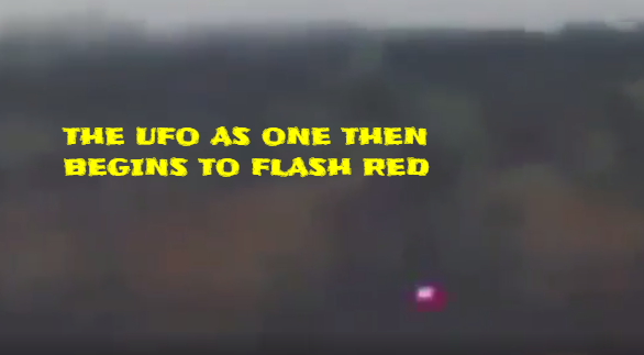 The UFO after turning in to one UFO then glows red.