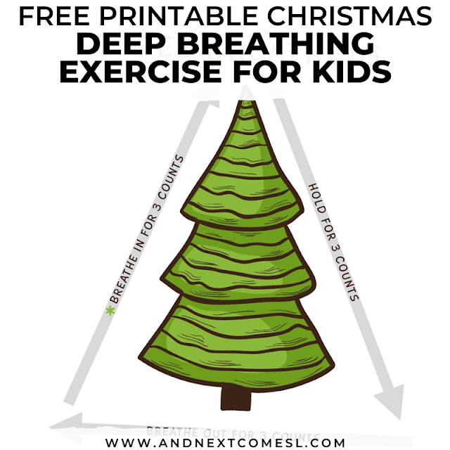 Christmas tree themed breathing exercise for kids with free printable poster