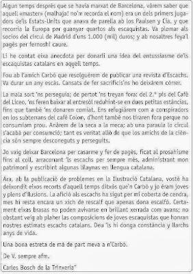 Carta de Carles Bosh en el libro Els Escacs a Tarragona de Josep Alió Borràs