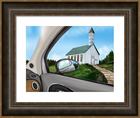 painting of a church through a car window