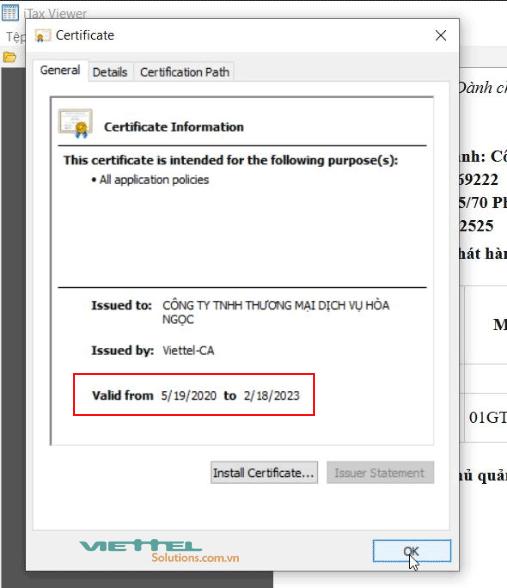 Hình 2 - Thời hạn chữ ký số Viettel trên ứng dụng Itax Viewer