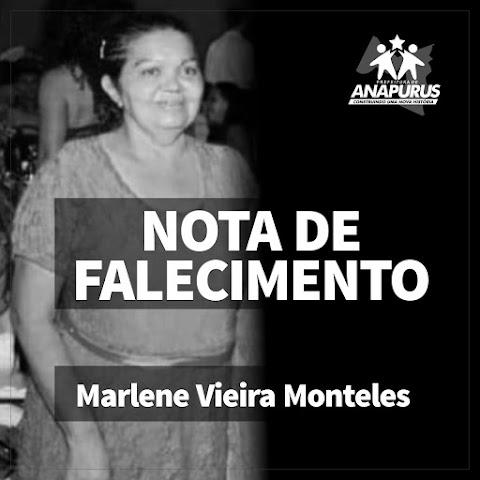 Prefeita Vanderly Monteles emite nota de pesar pelo Falecimento da Anapuruense Maria Marlene Moreira Monteles Vieira