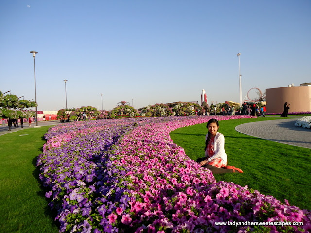 lady at Dubai Miracle Garden