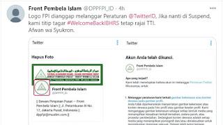 HRS Pulang, Logo FPl Tiba-tiba  Disuspend Twitter, Dianggap Langgar Aturan