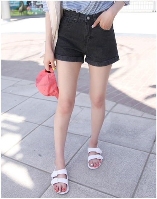 Basic Folded Cuff Denim Shorts