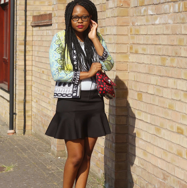 statement jacket, lulu guinness bag outfit