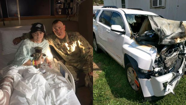 Real-Life hero Cory Hinkle shields accident victim from car explosion #Watwb