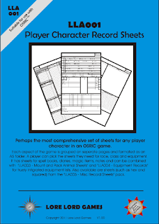 Lore Lord Games Player Character Record Sheets by Keith V. Thompson
