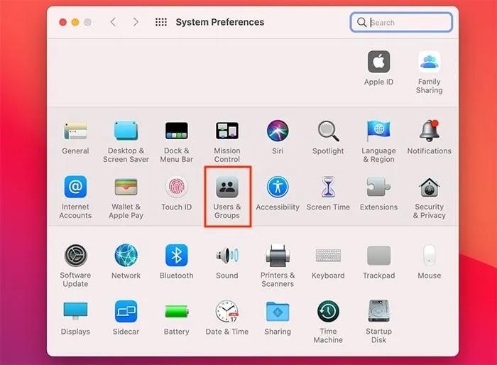 عناصر بدء التشغيل ، تفضيلات نظام Mac