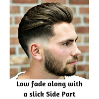 Low fade along with a slick Side Part