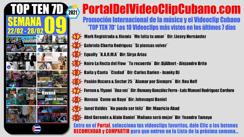 Artistas ganadores del * TOP TEN 7D * con los 10 Videoclips más vistos en la semana 09 (22/02 a 28/02 de 2021) en el Portal Del Vídeo Clip Cubano