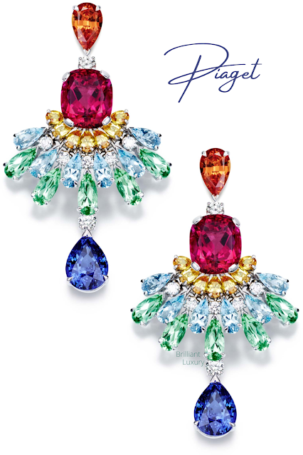 Piaget Rose Passion earrings in 18K white gold set with brilliant-cut diamonds, garnets, sapphires, aquamarines, tourmalines, blue sapphires & rubellites #brilliantluxury