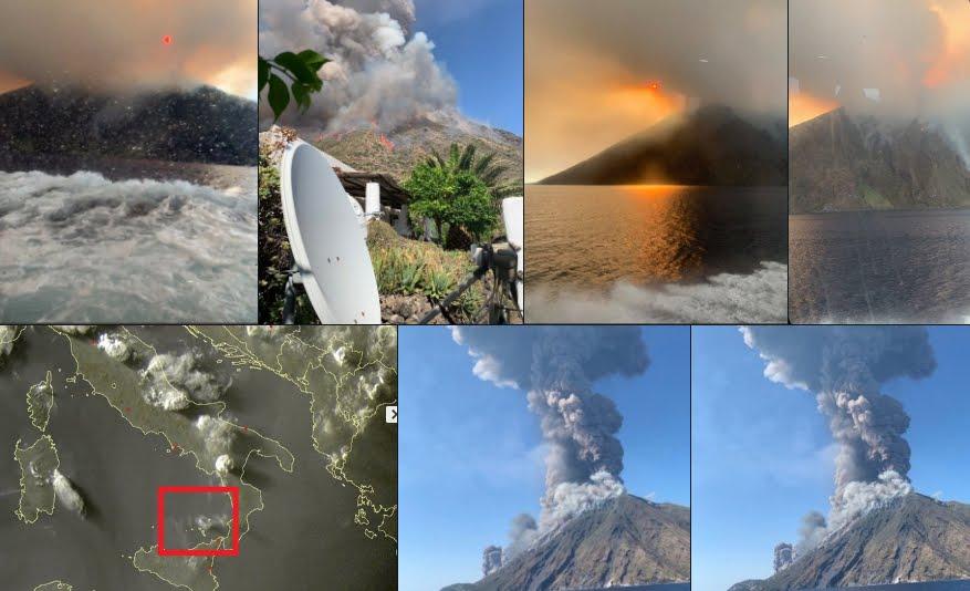 Eruzione Vulcano Stromboli provoca un morto e un ferito, il momento esatto dell'esplosione.