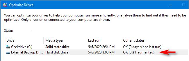 اكتملت عملية التحسين وإلغاء التجزئة في Windows 10