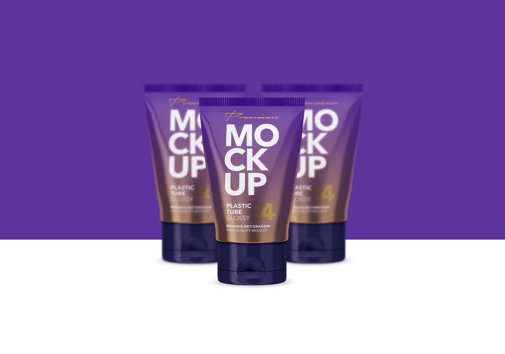 Glossy Cosmetics Tube Mockup