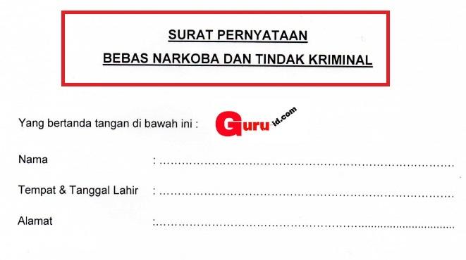 gambar surat pernyataan bebas Narkoba dan Tindak Kriminal