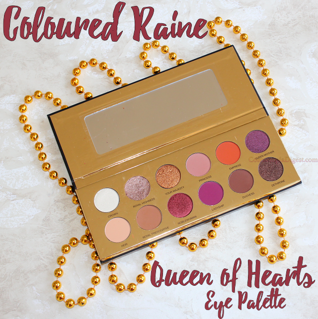 Coloured Raine Queen of Hearts Eyeshadow Palette Review, Swatches, EOTD