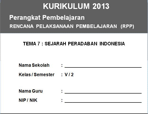 RPP Kurikulum 2013 SD KELAS 5 SEMESTER 2 - Sejarah Peradaban Indonesia